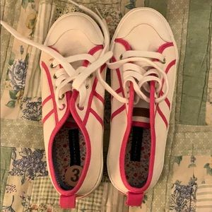 Girls Tommy Hilfiger Size 3 white pink sneakers